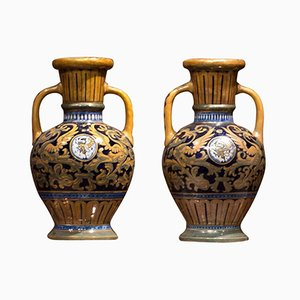 Italienische Majolica Vasen von SL Robbia, 1940, 2er Set