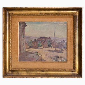 Italienisches Sperrholz Gemälde von Luigi Polverini, 1940er