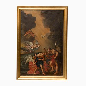 Antique Baptism of Christ Oil on Canvas Painting by Francesco Albani School