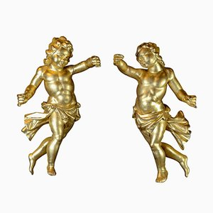 Antique Italian Carved and Gilded Wood Putti Sculptures, Set of 2