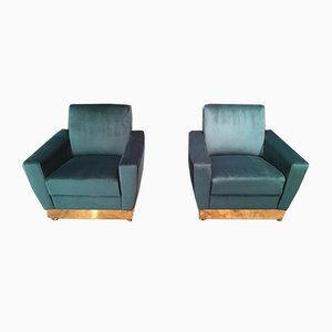 Italian Velvet and Brass Armchairs, 1970s, Set of 2