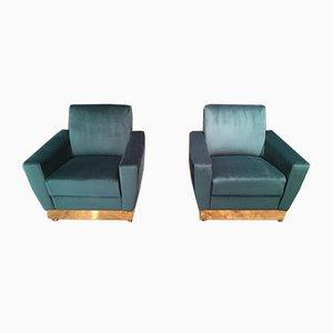 Italian Velvet & Brass Armchairs, 1970s, Set of 2