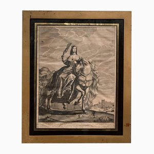 17th Century Rectangular Black Gold Framed Engraving by Hugo Hunch Allard