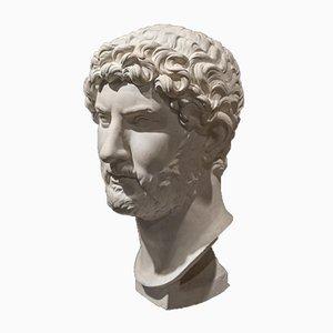 Antique Italian Neoclassical White Plaster Hadrian Bust, 1860s