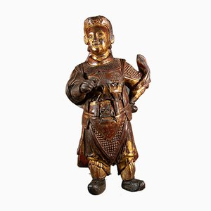 Antique Painted and Gilded Wooden Deity Wei-To Sculpture