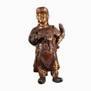 Sculpture d'Époque de la Divinité Wei-To en Bois Peint et Doré