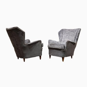 Italian Velvet & Wood Armchairs, 1940s, Set of 2