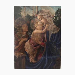 Italian Madonna with Child Tempera on Panel by Umberto Giunti, 1920s