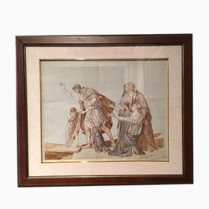 Antique Neoclassical Red Chalk French Paper by Jacques-Louis David