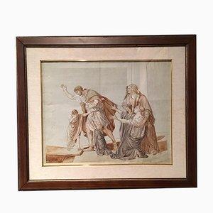 Dessin d'Époque à la Craie Rouge et au au Crayon Aquarelle Néoclassique par Jacques-Louis David
