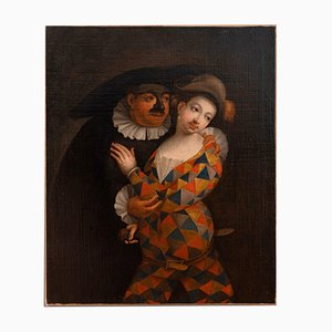 Antique Gallant Masked Scene Oil on Canvas by Marco Marcola