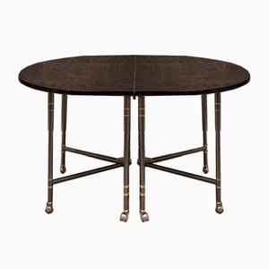 Mid-Century French Black Lacquered Oval Model Royale Dining Table from Maison Jansen, 1960s