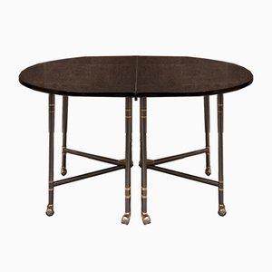 Table de Salle à Manger Ovale Modèle Royale Mid-Century Laquée Noire de Maison Jansen, France, années 60