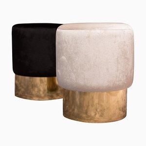 Italian Velvet & Polished Brass Stools, Set of 2