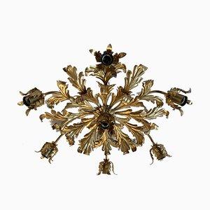 Lámpara de techo francesa Mid-Century grande con hojas doradas
