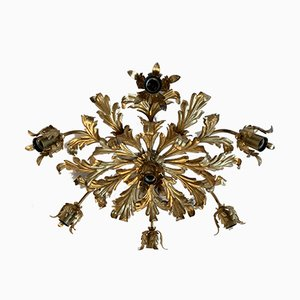Large Mid-Century French Gilt Leaf Ceiling Lamp