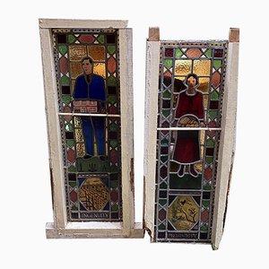 Antike Englische Buntglasfenster mit Freimaurer Dekoration, 2er Set