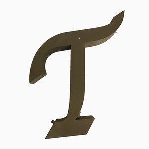 Lettre T Vintage en Métal