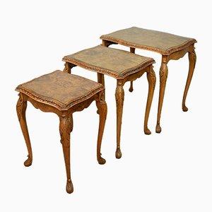Burr Walnut Nesting Tables, 1930s