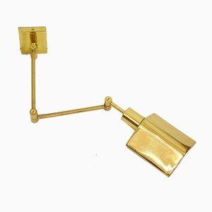 Teleskopische Wandlampe aus goldenem Metall, 1970er