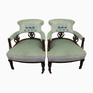 Antique Walnut Occasional Armchairs, Set of 2
