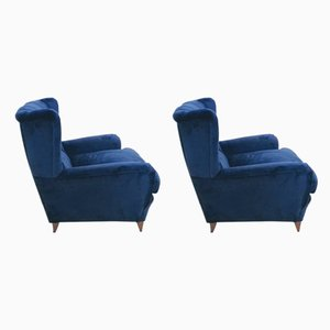 Vintage Velvet Armchairs, Set of 2