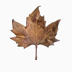 Italian Bronze & Maple Leaf Trinket Tray, 1960s