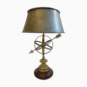 Patinated Brass Sundial Table Lamp, 1970s