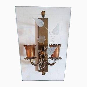 Italienische Glas & Kupfer Wandlampen, 1950er, 2er Set