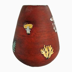 Swedish Mushroom & Ferns Ceramic Vase, 1950s