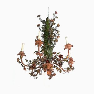 Italian Tole & Flower Chandeliers, 1950s, Set of 2
