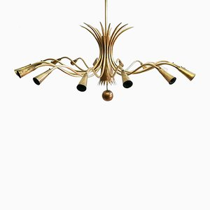 Brass 16-Light Chandelier, 1950s