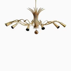 Lámpara de araña de latón con 16 luces, años 50