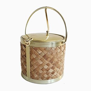Raffia & Gold Ice Bucket by Kraftware Co., 1970s
