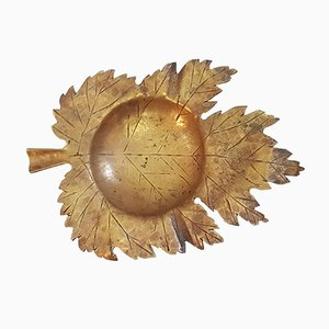 Italian Handmade Maple Bronze Leaf Ashtray, 1950s