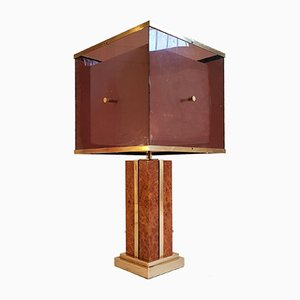 Burl and Brass Table Lamp by Romeo Rega