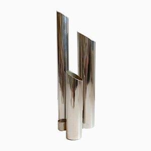 Italian Space Age Metal Vase, 1960s