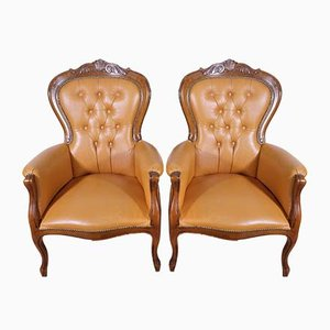 Chesterfield Leather Armchairs, 1960s, Set of 2