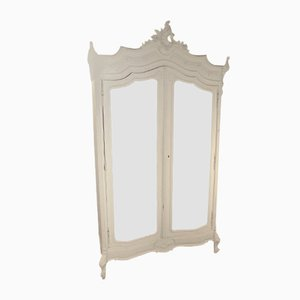 Antique Louis XV Painted Mirrored Armoire