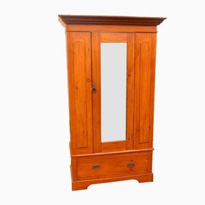 Antique Pine Mirror Wardrobe with Drawer