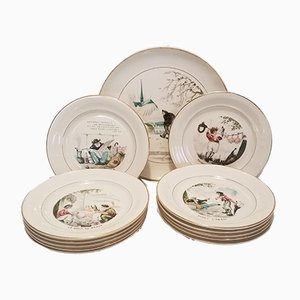 Earthenware Dessert Service by Gaston Le Beuze for Villeroy & Boch, 1950s, Set of 13