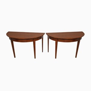 Antique Georgian Mahogany Demi-Lune Console Tables, Set of 2