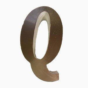Vintage Plexiglas Schild mit Q Buchstaben