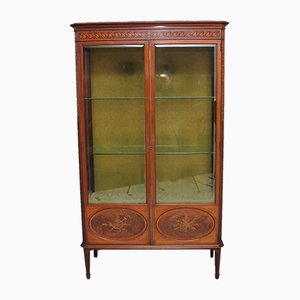 Antique Mahogany & Inlaid Display Cabinet