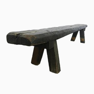 French Brutalist Rustic Bench, 1940s