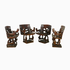 Antique African Carved Wood Chairs, Set of 4