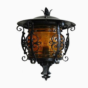 French Iron & Glass Outdoor Sconce, 1920s