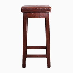 Vintage French Leather Stool