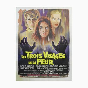 The Three Faces of Fear Boris Karloff Horror Movie Movie Poster, 1960s