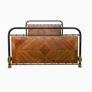 Antique French Brass, Iron & Wood Panel Bed